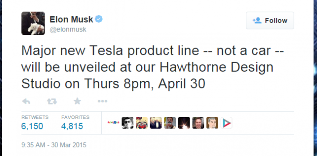 Tesla unveiling new product; probably consumer batteries