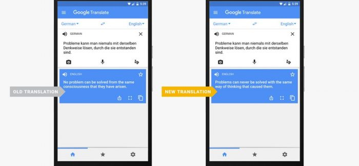 Neural Machine Translation: Google translate upping its game.