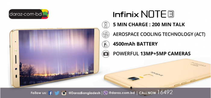 Infinix to launch the NOTE 3 on Daraz.com.bd on December 14th