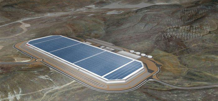 Tesla's massive Gigafactory swings into production.